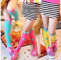 Wholesale Korean High Knee Socks - Girls fashion socks sweet candies colors sock knee high socks korean Polka Dot princess Stockings children socks LZ0002