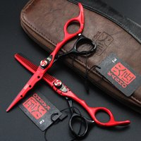 Wholesale Tijeras Pelo - 737# 6inch Top Quality Human Hair Cutting Thinning Scissors,Japan Kasho Professional Black-Red Color Shears with Carved Handle,Tijeras pelo