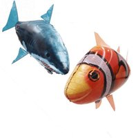 Wholesale Inflatable Air For Balloons - 24pcs lot Wholesale IR RC Air Swimmer Shark Clownfish Flying Fish Assembly Clown Fish Remote Control Balloon Inflatable Toys for Kids