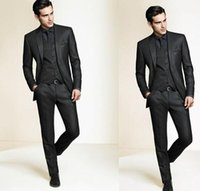 Wholesale mens checked suits - High Quality Slim Fit Groom Tuxedos 2016 Side Groomsmen Mens Wedding Prom Suits Custom Made (Jacket+Pants+Tie+Vest)