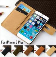 portefeuille id flip wallet achat en gros de-Luxe Rétro Flannelette En Cuir Portefeuille Flip Case Housse Avec ID Slots Stand Titulaire Pour iPhone 6S 6G 4.7 Pouces Plus iPhone6