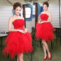 Wholesale Sweet 16 Feather Gown - 2015 new feathered beaded crystal Short Tulle red Cocktai Dresses sweetheart Backless Mini Sweet lace-up Graduation Gown Prom Party Dresses