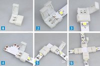 conector para rgb led strip light venda por atacado-Barato levou tira conectores para 8mm 3528 e 10mm 5050 5630 smd única cor e 4pin DC RGB 5050 LED tiras de luz sem soldagem rápida led