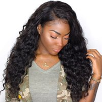 Wholesale Jerry Curl Lace Wig Human - Peruvian Deep curly Wigs Glueless Human Hair Lace Front Wig With Baby Hair Glueless Jerry Curl Wigs Free Shipping