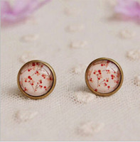 Wholesale Vintage Cherry Earring - Vintage Cherry Stud Earring for Girl Cameo Glass Bronzed Earrings Gifts for Friends Christmas Jewelry 12mm Lovely Earring-J457