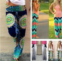 Wholesale Ethnic Pants Woman - 20pcs Women Boho Ethnic Pants Bohemian Floral Print Wid Leg Loose Pants Striped Trousers Waves Silky Bottoms M110