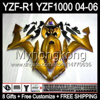 Wholesale gold yamaha - 8Gifts+ Body For YAMAHA Glossy gold YZF-R1 04-06 YZF R1 MY44 YZF1000 YZFR1 04 05 06 ALL Golden YZF 1000 YZF R 1 2004 2005 2006 Fairing Kit