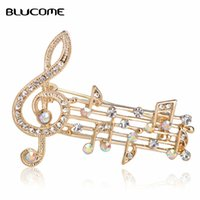 Blucome Music Note Große Broschen Für Frauen Österreichischen Kristall Schal Mantel Clips Pins Icon Schmuck Party Kleid Broche Dekoration