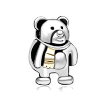 Wholesale Large Cute Teddy Bears - Fashion women jewelry metal cute small 2 toned teddy bear lucky European spacer bead large hole charms for beaded bracelet