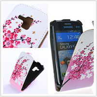 Wholesale Cases Galaxy S Duo 7562 - Wholesale-New Flip Leather Case Cover For Samsung Galaxy S Duos S7562 GT-S7562 7562 Trend Plus S7580 S7582 Flowers 12 Colors free shipping