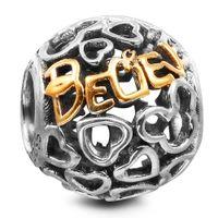 glaube armband silber großhandel-Mickey Heart Golden Glauben 100% 925 Sterling Silber Perlen Fit Pandora Charms Armband Authentic DIY Modeschmuck