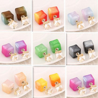 Wholesale Candy Stud Earrings - New Fashion Paragraph Hot Selling Earrings 2015 Double Side Candy Color Square (13mm*8mm) Stud Earrings Crystal Earring For Women