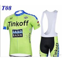 Wholesale Saxo Bank Tinkoff Bib Shorts - 0.12 ITEMS Tinkoff saxo bank cycling jerseys tour de france Bike Wear Green Fluo pro cycling jersey short sleeves+bib shorts size XS-4XLT8