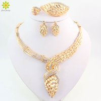 Wholesale Cz Bead 18k Gold Necklace - Crystal Jewelry Sets Fine African Beads Necklace Bracelet Earrings Rings Set CZ Diamond Wedding Gold Plated Bridal Accessories