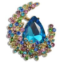 Wholesale ruby grades - Fashion grade Brooch Gold Plated Jewelry big Drill diamond For Women Emeral Crystal Pin gemstone Brooches Fashion Scarf Bijoux Accessories
