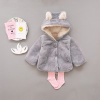 Wholesale cute brown bear - Baby Girls Coat Winter Warm Bear Style Coat Cloak Jacket Thick Warm Clothes Baby Girl Cute Hooded Coats