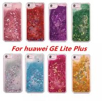 Wholesale Yellow Ge - Quicksand Rhinestone Case For huawei P9 Lite mini Y6 Pro 2017 For huawei GE Lite Plus Glitter Transparent Liquid TPU Cover C