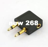 adaptateur pour casque d'avion achat en gros de-100 pcs / lot En Gros Airline Avion Écouteur Casque Casque Jack Audio Adaptateur 3.5mm
