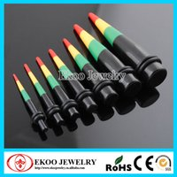 Barato Cone De 3mm-Rasta Print Acrylic Tapers Ear Tapers Body Jewelry 3mm-12mm Each Size One Pair