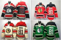 Wholesale Mens Army Coat Xl Grey - Factory Outlet, 2014 New ArrivalCheap Chicago Blackhawks #81 Marian Hossa Fleece Coat Hooded Mens Jersey Old Time Hockey Hoodies Sweatshirts