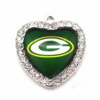 Wholesale Crystal Football Charms - 10pcs lot New design football Team Sports Glass Pendant Heart Crystal Floating Charms Dangle Charms Fit Necklace Jewelr
