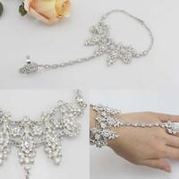 Wholesale Gloves Cuffs - 2016 Luxury Fashion Bridal Wedding bracelets Jewelry Gloves Crystal Rhinestone Jewelry Slave Bracelet Wristband Harness Cuff bracelets women