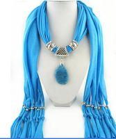 Wholesale Scarf Collar Pendant - 2015 Hot Pendant Scarf Jewelry Women bib Collar scarf fashion natural multicolor agate pendant scarf jewelry Accessories scarf LD