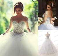 Wholesale Ivory Rhinestone Wedding Gown - Luxurious 2016 Rhinestones Crystal Ball Gown Wedding Dresses Vintage O Neck Long Sleeves Backless Plus Size Floor-length Bridal Gowns