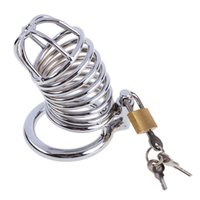 Wholesale Chastity Cage Sold - Free shipping Top Sell Stainless Steel Lock Ring Bondage Men Ring Cage Male Chastity Device SL