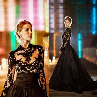 Wholesale Taffeta Robe - 2017 New Vintage Gothic Style Black Wedding Dresses Long Sleeves High Neck Lace Tulle Taffeta A-Line Sweep Train Bridal Gowns Robe de marrie