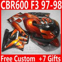 ingrosso torretta per il 1998 cbr f3-Ricambi moto arancione bruciati + 7 regali per carenatura Honda CBR 600 F3 CBR600F3 Carene 1998 1998 CBR600 F3 95 96 AKIV