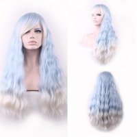 Wholesale Cosplay Lolita Wigs White - 70cm Hair wig Cosplay anime pastel wigs lolita Light blue gradient white wigs synthetic ombre wig with bangs heat resistant