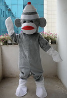 Wholesale Adult Sock Monkey Costumes - Professional New Grey Sock Monkey Mascot Costume Fancy Dress Adult Size
