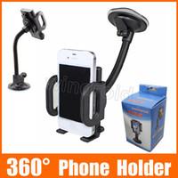montures pivotantes achat en gros de-Support universel de support de pare-brise de voiture de support pivotant de tasse de succion de 360 degrés pour le téléphone portable / iPhone / iPad / PDA / MP3 / MP4 DHL 50pcs