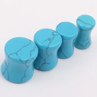 Wholesale Ear Gauges Mix - Tunnel Gauge F50 40pcs lot Mix 5-10 mm Turquoise Stone Flesh Tunnels Ear Piercing Plugs body jewelry wholesale