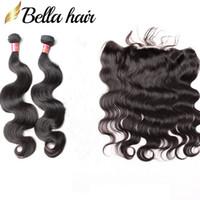 farbe menschenhaar bündel schließung großhandel-Bella Hair® 8A Spitze Frontal Schließung Mit Haar Bundles Unverarbeitete Reine Brasilianische Haarverlängerungen Natürliche Schwarze Farbe Körperwelle Menschliches Haar