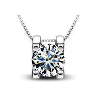 подвеска без алмаза оптовых-30% стерлингового серебра 925 пунктов Кристалл ювелирные изделия кулон заявление ожерелья старинные Кристалл куб Алмаз бесплатная доставка