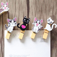 Wholesale Diy Cat Bag - 10pcs Lot Japan style Cute cat wooden clips + rope Mini nice Food clip Kawaii wood clip for bag Students' DIY tools