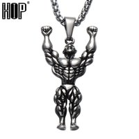 HIP Gold Color Titanium Stainless Steel Sports Gym Muscle Man Weightlifters Collares pendientes para hombres joyería