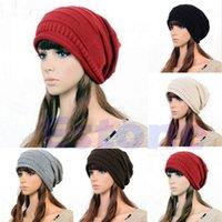 ingrosso beanie oversize-Cappello da sci all'uncinetto in maglia uncinetto oversize oversize per il berretto invernale con pliche larghi