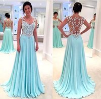 Wholesale Anne Blue - Hot Sale 2017 Mint A-Line Prom Dresses Queen Anne Illusion Back Long Chiffon Evening Gowns with Beaded Crystal