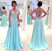 vestidos de reina anne al por mayor-Venta caliente 2017 Mint A-Line Vestidos de baile Queen Anne Illusion Volver Vestidos largos de gasa con cristales moldeados