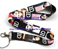 Wholesale One Direction Neck Strap - Wholesale-Free shipping New Lot 10pcs ONE DIRECTION Phone Lanyard Key ID Neck Strap Small Wholesale