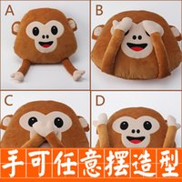 Wholesale looking for toys resale online - New Hot emoji pillows monkey pillow cm Don t look don t listen to don t talk don t move monkey Cartoon plush toy for