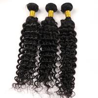 renk 32 saç örgüsü toptan satış-100% Virgin İnsan saç atkı örgüleri Derin dalga Kıvırcık 8 ~ 34 inç Doğal Renk Perulu Malezya Hint Detangle saç Demetleri toplu uzantıları