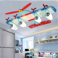 Wholesale Plane Ceiling Light - Cute plane airplane kids children's bedroom living room playground kindergarten airplane designing MDF led ceiling light