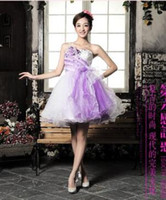 Wholesale Dresses Party Grace Karin - Wholesale-Charming Grace Karin Voile Sequins and beadings Sweetheart purple Short Bridesmaid Dress Wedding party Dresses 6167