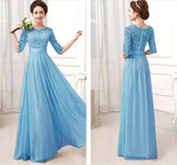 Wholesale Blue Maxi Dress Long Sleeve - Free Shipping 2015 Sexy ladies Chiffon Lace Boho Long Maxi Evening maxi dress lace dresses women Formal Party Runway Dress