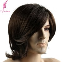 Wholesale Mens Ombre - Synthetic Hair Wigs Yiyaobess 12inch Little Wavy Short Dark Brown Mens Wigs Heat Resistant Synthetic Hair European Male Wig