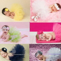 Wholesale Fashion Photographs - 9 colors Baby Girl Children's Tutu Skirts+knitting Headband Sets NewbornToddler Outfit Fancy Costume Cute Photograph suits birthday gift
